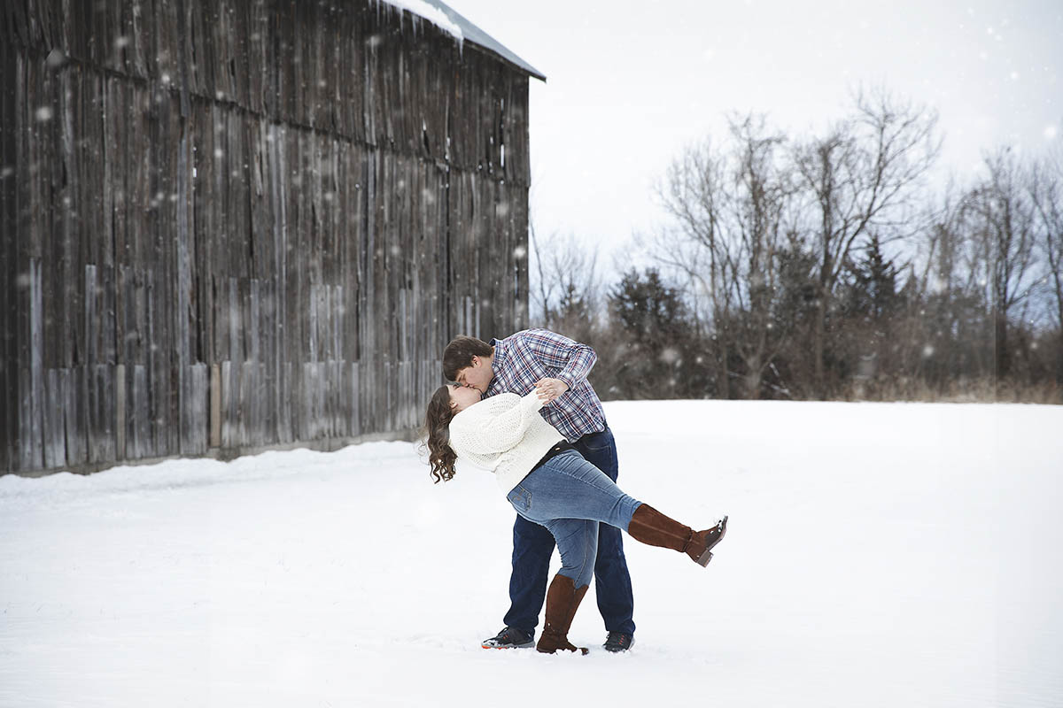 Winter Engagement Session in Weston, Missouri
